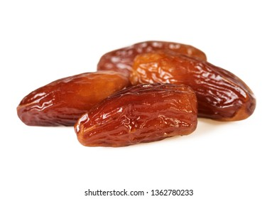 Sweet dates fruit or four dried dates isolated on white background