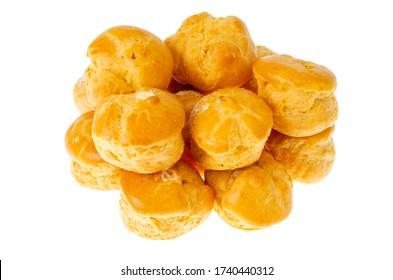 Sweet delicious crunchy homemade profiteroles. Studio Photo.