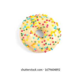 Sweet delicious glazed donut on white background, top view