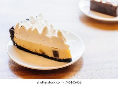 Sweet dessert with banana banoffee cake