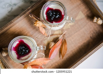 sweet dessert in glass strawberry puding