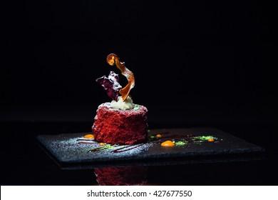 Sweet dessert on a black background