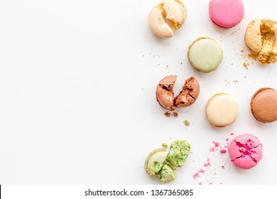 sweet dessert pattern with macarons on white background flat lay mockup