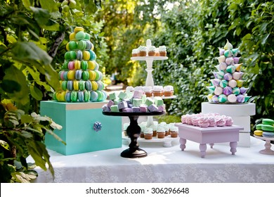 Sweet dessert table or candy bar. Wedding party. Natural light. Macaron and meringue pyramid. Cupcakes and marshmallow.