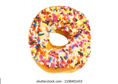 Sweet donut with rainbow candy sprinkles on top (isolated on white background)