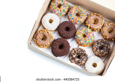 sweet donuts in a paper box