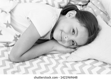 Sweet dreams. Girl happy child lay bed pillow and blanket bedroom. Lullaby concept. Ways to fall asleep faster. Fall asleep as fast as possible. Fall asleep faster and sleep better. Healthy sleep.