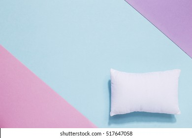 Sweet dreams, good sleep, healthy and happy. White pillow, stylish composition