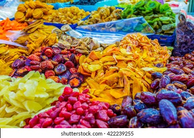 The sweet dried fruits in the stall of Carmel market, Tel Aviv, Israel.