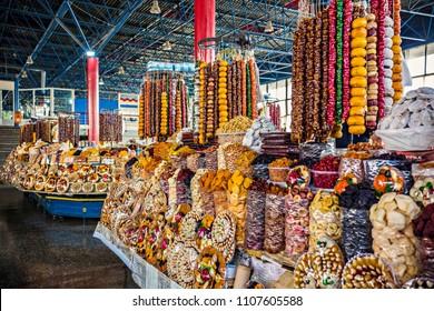 Sweet dry fruits and nuts assortment on the market counter, Tashir market, Yerevan, Armenia