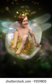 Sweet fairy on white flower