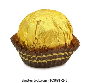 Sweet Food, Three Round Chocolate Candy Balls or Chocolate Bonbons in Golden Wrapper Isolated on White Background.