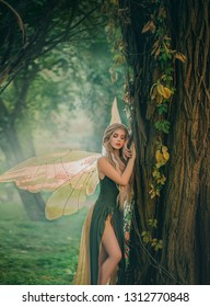 sweet forest angel, nymph with perfect thick white hair in image of dreamy spirit with butterfly wings. attractive fairy with bare legs, mythical creature closes eyes, listens to breath of nature.