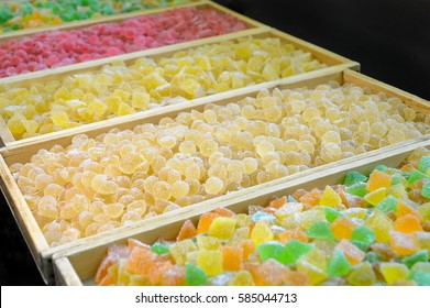 Sweet fresh colorful fruit candy at the confectionery factory waiting for their buyers