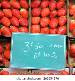 Sweet fresh strawberry on farmer agricultural market