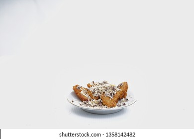 Sweet fried plantain with cocolate milk and cheese
