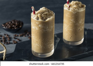 Sweet Frozen Iced Coffee Slushie with Almond Milk