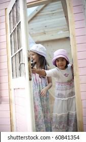 Sweet girlfriends open the door of him little house