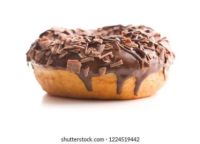 Sweet glazed donut isolated on white background.