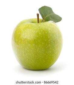 Sweet green apple with  leaf isolated on white background
