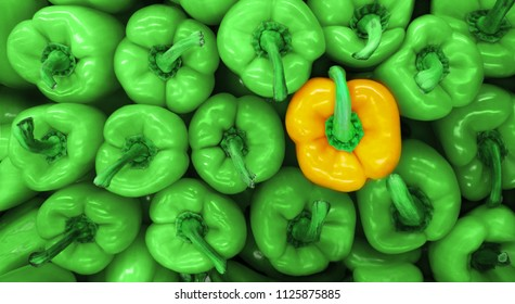 Sweet green peppers background and yellow pepper. Paprika peppers.