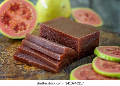 Sweet of guava, with name of Goiabada, a typical Brazilian sweet common in the state of Minas Gerais. Concept of homemade sweet and natural flavor.