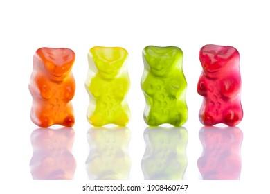 Sweet gummy bears on white background