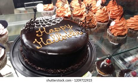 Sweet Halloween cake. autumn desert