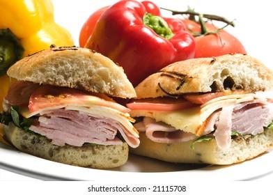 sweet ham sandwich muenster cheese rosemary bread honey spice glazed ham lettuce and tomato