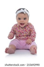 Sweet Happy Young Baby Girl Smiling Isolated on White Background