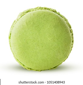 Sweet hazelnut macarons isolated on white background. Clipping Path. Full depth of field.