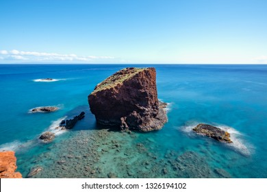 Sweet Heart Rock, a famous lookout point on Lanai, Hawaii / long exposure with smooth water