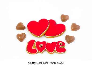 Sweet hearts. Hearts of cookies and chocolate