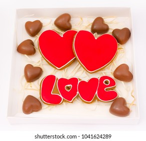 Sweet hearts. Gift hearts of cookies and chocolate