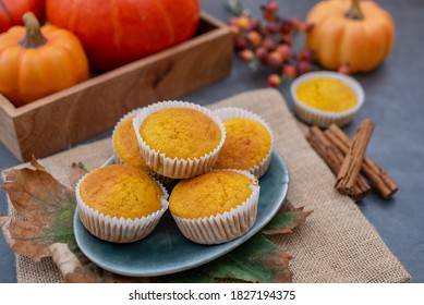 sweet home made vanilla pumpkin muffins on a table