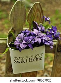 Sweet Home Purple Flower Basket