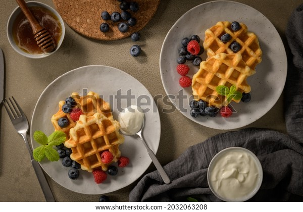Sweet Homemade Berry Belgian Waffle with Whipped Cream.
