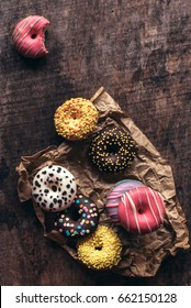 Sweet homemade donuts on the wooden table,selective focus