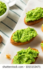 Sweet Homemade Pea Pesto Crostinis Ready to Eat