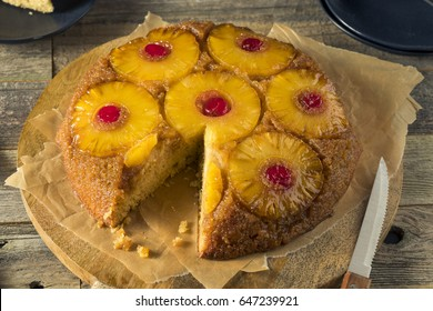 Sweet Homemade Pineapple Upside Down Cake with Cherries