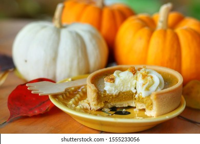 Sweet Homemade Pumpkin Pie top with whipped cream on yellow plate with blurred pumpkins background.Mini tart made for Thanksgiving day in autumn.Seasonal,Holiday or food concept.