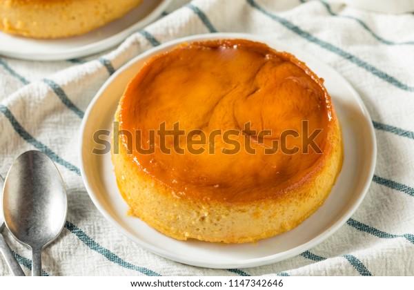 Sweet Homemade Spanish Flan Dessert with Caramel Sauce