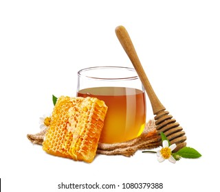 Sweet honeycomb and fresh honey isolated on white background with copy space, bee products by organic natural ingredients concept