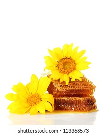 sweet honeycombs with honey and sunflowers, isolated on white