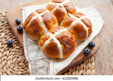 Sweet Hot Cross Bun for Easter teatime -  delicious holiday treat.