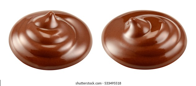Sweet hot melted chocolate sauce. Swirl isolated on white background. Collection. Full depth of field.