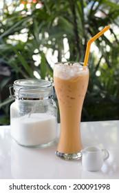 Sweet Ice Milk Tea with sugar and milk.