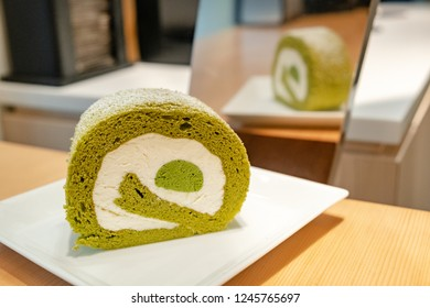 Sweet Japanese Matcha Green Tea Swiss Cake Roll with Cream for Dessert