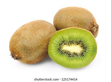 Sweet kiwi fruit  close up isolated on white
