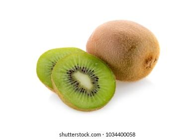 Sweet kiwi slices with leaves on a white background